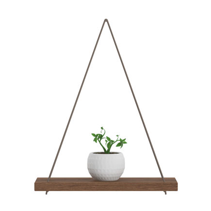 3d wall shelf on the rope with small plant