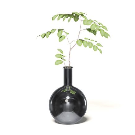 plant in chrome vase 3d model